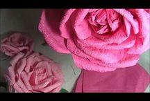 Розы из креп-бумаги