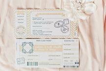 Cream and Gold travel wedding theme