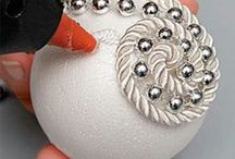 palle natale polistirolo cordoncino perle