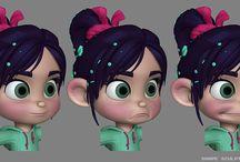 Modelos de animación de personajes / pistas de modelos de personajes durante el trabajo de animación en películas, series de televisión y videojuegos.