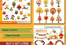 Autumn inspirations (clipart, school worksheet, printable) / Autumn inspirations (clipart, school worksheet, printable)
