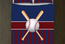 Baseball Rooms / Baseball themed bedrooms for boys and teens.  Duvet cover bedding sets, throw pillows, wall art prints, gallery wrapped canvases, shower curtains.