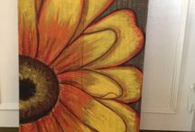 painted flowers on pallets