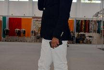 Men outfit  / Orange desert boots,white pants,fashion,street style