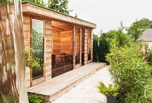 Sauna wellness Garden / This sauna wellness garden has been installed by the lake Balaton on a hill with a comfort sauna house with bathroom, relax room, pergolas, carparks and much more.