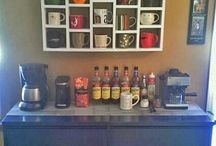 HOMEMADE COFFEE BAR/STATION / DIY/HOMEMADE Coffee Bar/Stations look fantastic regardless of the size whether it be set up in the corner of your kitchen bench or an elaborate wall to floor display in your dining area. You can spend as little as $20 setting up your own unique Coffee Station all it takes is a little bit of imagination and some great inspirational ideas like the ones you will find in this collection.