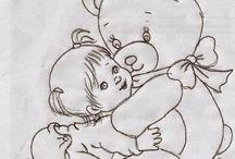Riscos De Bebê Para Pinturas Em Tecido