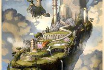 Cités Imaginaires et steampunk airship~~Imaginary Cities and steampunk airship / Imaginaire