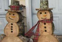 bonhomme de neige  avec des rodin bois