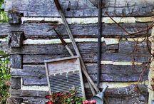 Rustic Garden. great look for my cabin