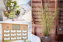 Rustic Wedding  / Rustic details includingNature-inspired elements – raw logs, distressed wood, green moss, branches, rocks, shells