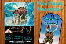 Moana Maui theme party supplies / Examples of Moana birthday invitation, Moana invite, Moana party supplies, Moana and Maui invitations, Moana thank you cards and tags, Moana banner - Moana party staff for boys and girls.