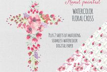 Watercolor clip art / Watercolor flowers and other designs that can be used for wedding designs, card making, scrapbooking, decoupage and blogs