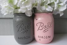 Jars / Decorating jars with paint, materials and rope