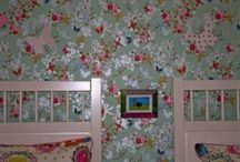 Little Sisters' Shared Bedroom / Vintage birdy themed room for two sisters sharing.