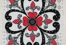 red floral block