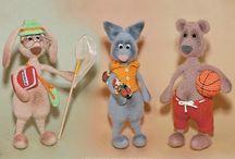 062 Hare, Bear and Cat with accessories - Crochet Pattern by Borisenko /  Crochet pattern 3 friends by Borisenko for LittleOwlsHut #LittleOwlsHut, #Amigurumi, #Borisenko, #CrochetPattern# Hare# Bear# Cat / by LittleOwlsHut