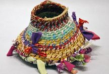 Susan Wise // Baskets / After being institutionalized for a large part of her youth, Susan Wise became interested in crafts at a vocational training program.  Characteristic of Wise's vessels are their emphasis on biomorphic forms and shapes. Through her use of color and materials (hemp twine, various ropes, threads and fabric scraps), her baskets often seem to undulate and sway to an invisible rhythm, while frequently seeming to be collapsing under their own weight as if exhausted by their dance.