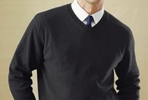 """Men: Conference Wear/Business Casual / Usually, you'll  wear business casual to conferences, whether you're attending seminars or networking sessions, or giving a poster/powerpoint presentation. Below are examples of business casual, which could include a button down shirt with slacks, sweater, blazer or suit and dress shoes. Do not wear t-shirts or sweatshirts, jeans or shorts, flip flops or sneakers. Note for pharmacy students: if attending the residency showcase, check out the """"Men: Residency"""" board."""
