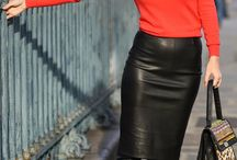 Chic outfits with leather skirts.