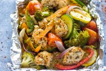 Easy baked Italian chicken and veggie foil packs