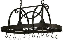 Pot Racks / Pot Racks with down lights, Great for Kitchens that display pots over kitchen islands. The rack holds the pots and adds light to the kitchen island.