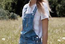 denim overall and lace