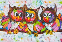 vrolijke schilderijen uilen