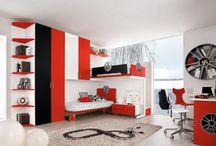 chambre noir et rouge