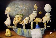 Zdenek Janda / Ho dipinto due pietre come uno studio, un improvviso lampo di pensiero che ho ricevuto. Li ho dipinti, uno appeso sopra l'altro.  Queste pietre erano diverse da quelle che si trovano pesanti. Da pietre ancora vita umana, dalle pietre può essere creato dramma umano. Organizzando pietre e altri vari componenti in combinazioni reciproche, si possono creare corde del sentimento. Queste corde del sentimento irradiano dell'esperienza umana.