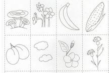 Applikációk - élelmiszer, növény / Forrás: Бъбривко-Логопедична занимателница, Работа с деца със СОП, Autismus Arbeitsmaterial, Autism