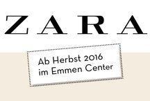 ZARA / Willkommen ZARA im Emmen Center!  Im Herbst 2016 wird der internationaler Kleider- und Accessoire-Hersteller aus Spanien sein erstes Ladengeschäft im Grossraum Luzern eröffnen. Wir freuen uns, dass sich ZARA für einen Shop im Emmen Center entschieden hat. Auf über 2'000 m2 wird ZARA Mode für Damen, Herren und Kinder anbieten.