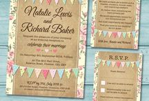 Wedding Invitation Sets, rustic, vintage, pastel colours, country, shabby chic