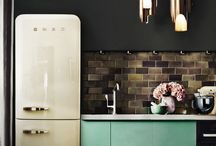 > colorful kitchens <