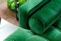 lush green living room / The best part of St. Patrick's Day? Decorating for a fun celebration at home, of course. Rich saturated velvets to liven up any party, branches and leaves to bring nature's greenery indoors and appropriately-colored beverages. What inspires you this St. Paddy's Day? / by Article