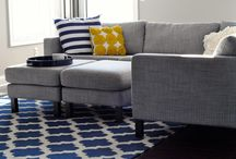 Living room ideas / Mustard and blue