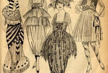 fashion sketches / эскизы одежды, в разнообразных стилях и разными материалами