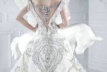 Wedding dress, accessories and bouquet.