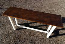 Console-table / Стол-консоль. Основой для столешницы послужила дверь от старинного антикварного букового шкафа. Все потертости и трещинки на дереве от воздействия времени. Массив дерева. Ручная работа.
