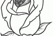 Dessin fleur rose et autres