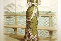 Green and Pink outfit / Fashion Plates with green and pink fabric choices