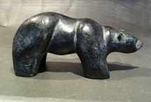 Black Bear / Stylised black bear carving in solid black granite.