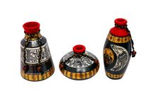 Warli Painted Set of 3 Earthern Vases Height 6 Inches, 5 Inches and 3 Inches