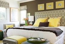 Yellow grey bedroom