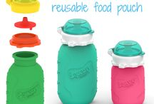 Squeasy Gear Reusable Food Pouch / The Squeasy Snacker is the most versatile reusable food pouch that features the 2-in-1 No Spill Insert for No Spill or Free Flow. Easy feeding on the go!