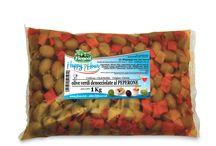 Ricette Tipiche (olive in buste da 1 e 1,5 kg bags) / Le olive nella classica busta: imballo solido e, soprattutto, economico. L'ampia gamma ricomprende olive in salamoia e olive condite in olio. I formati sono da 1 a 2 chilogrammi, in salamoia, in olio e sottovuoto. - - - English - - - Olives in 1 kilo (2.2 lb) and 1.5 kilo (3.3 lb) bags. A perfect product for the catering industry or for deli counters of supermarkets and food stores. The Olives undergo a pasteurization process, kept under Oilseed oil and vacuum packed in air tight plastic bags.