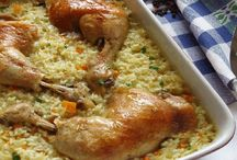 Pulpe de pui cu orez la cuptor
