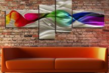 Modern Abstract painting metal canvas