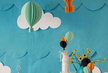 Chá de Bebê menino / Chá de bebê menino tema balão azul amarelo céu nuvem  Baby shower boy hot air balloon blue yellow sky cloud