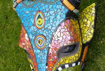 Trophy heads mosaic / Mosaic art Trophy heads from South Africa www.karladuterloomosaics .com